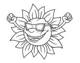 Disegno di Il sole con occhiali da sole da colorare