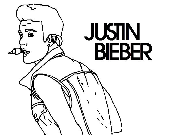 Disegno di Justin Bieber cantando da Colorare