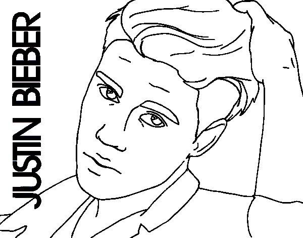 Disegno di Justin Bieber primo piano da Colorare