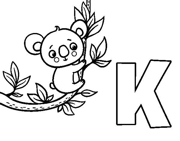 Disegno di K di Koala da Colorare