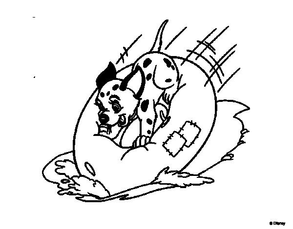 Disegno di la carica dei 101 cucciolo sopra una for La carica dei 101 disegni da colorare