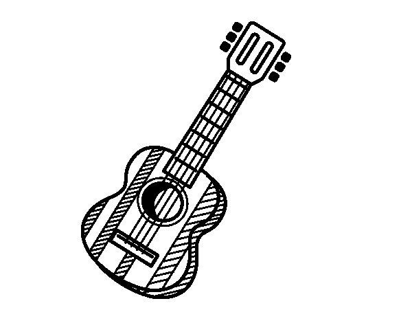Disegno di La chitarra spagnola da Colorare