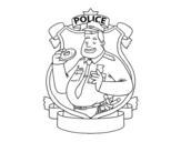 Disegno di La polizia con la ciambella da colorare
