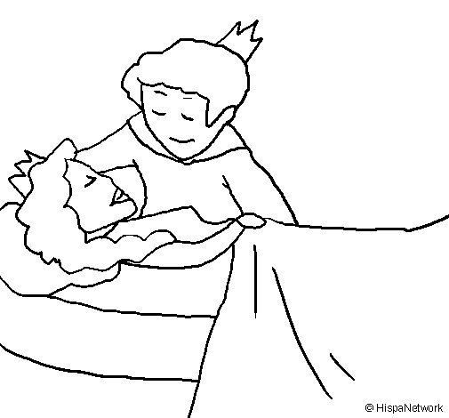 Disegno di La principessa addormentata e il principe  da Colorare