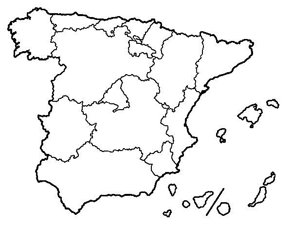 Disegno di Le Comunità autonome della Spagna da Colorare