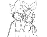 Disegno di Len e Rin Kagamine Vocaloid da colorare