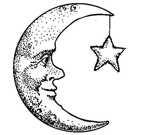Disegno di Luna e stelle da Colorare - Acolore.com