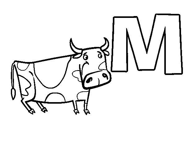 Disegno di M di Mucca da Colorare