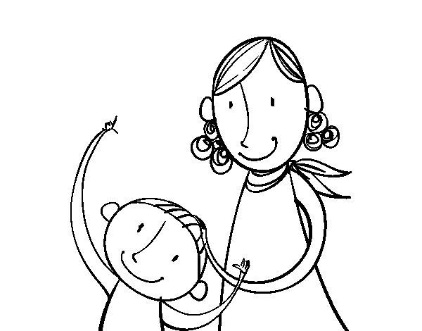 Amato Disegno di Madre accarezzare il bambino da Colorare - Acolore.com RQ83