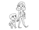 Disegno di Madre che cammina con un bambino da colorare