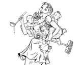 Disegno di Madre multitasking da colorare