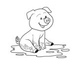 Disegno di Maiale nel fango da colorare