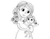 Disegno di Mamma con la figlia da colorare