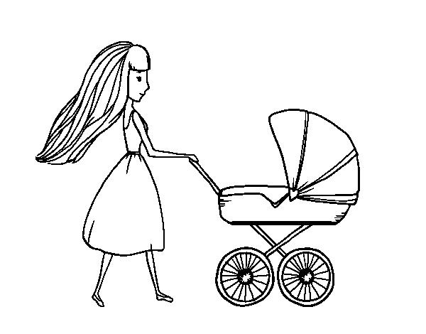 Disegno di mamma con passeggino da colorare for Disfare la valigia in inglese