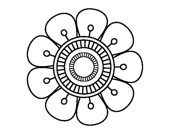 Disegno di Mandala a forma di fiore da Colorare