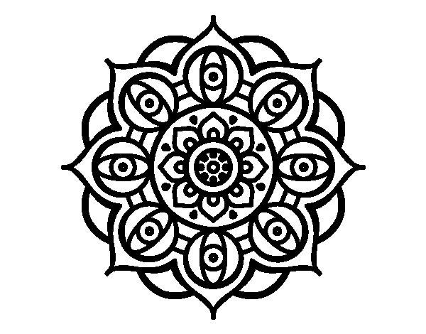 Disegno di mandala dagli occhi da colorare for Disegni di mandala semplici