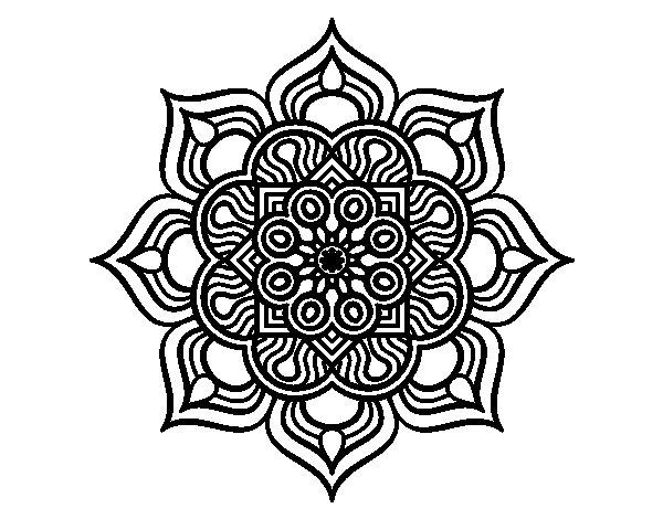 Disegno di Mandala fiore di fuoco da Colorare
