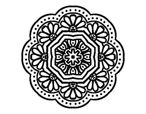 Disegno di Mandala mosaico modernista  da Colorare