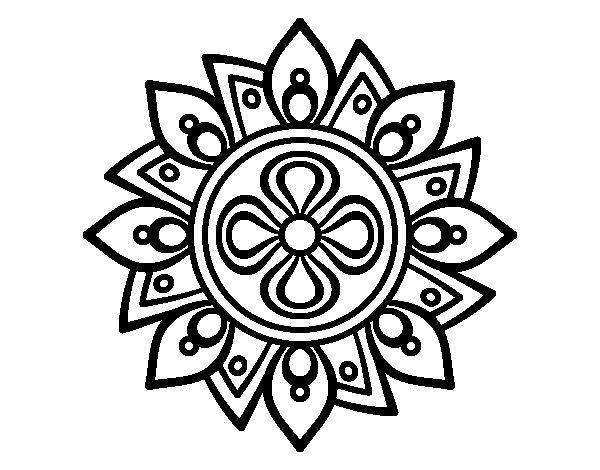Disegno di mandala semplice fiore da colorare for Disegni di mandala semplici