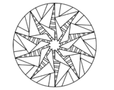 Disegno di Mandala sole triangolare da colorare