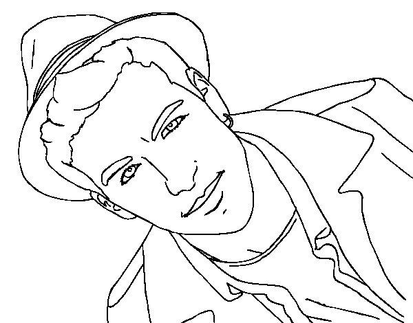 Disegno di Mario Casas con un cappello da Colorare
