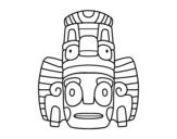 Disegno di maschera mexicana dello rituali da colorare