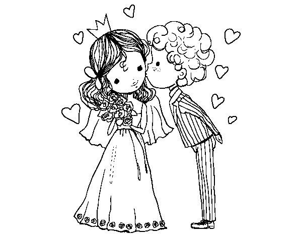 Disegno Di Matrimonio Del Principe E La Principessa Da