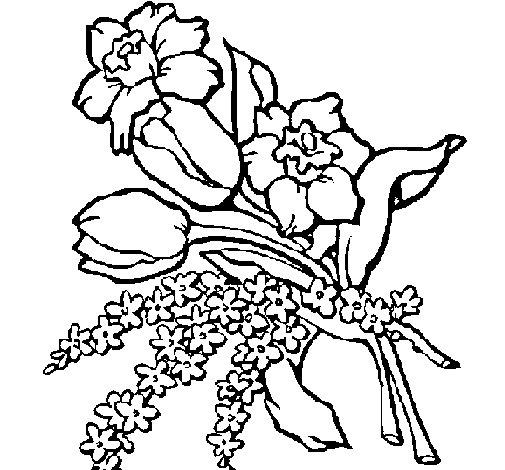 disegni da colorare mazzi di fiori