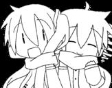 Disegno di Miku e Len con la sciarpa da colorare