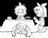 Disegno di Miku, Rin e Len colazione da colorare
