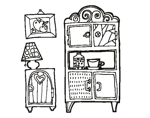 disegno di mobili soggiorno da colorare