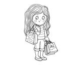 Disegno di Niña con compras de verano da colorare