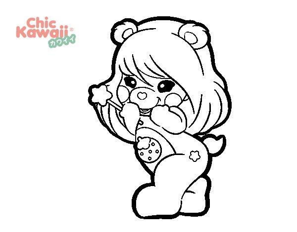 Disegno di orsa kawaii da colorare for Immagini disegni kawaii