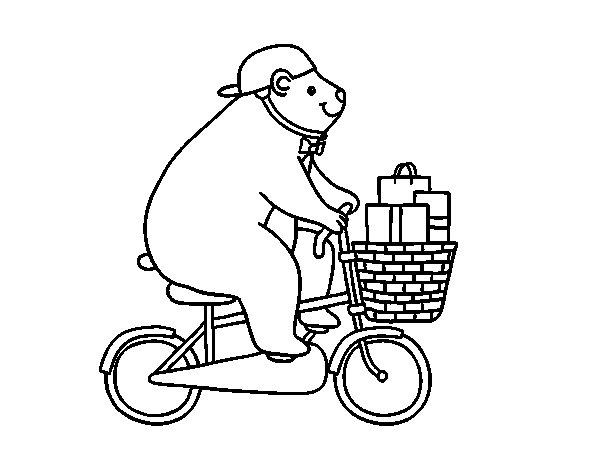 Disegno di Orso ciclista da Colorare