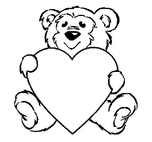 Disegno di orso innamorato da colorare - San valentino orso da colorare pagine da colorare ...