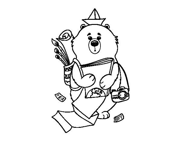 Disegno di Orso viaggiatore da Colorare