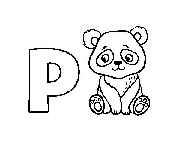 Disegno di P di Panda da Colorare