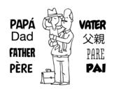 Disegno di Padre e figlio con il cappello da colorare