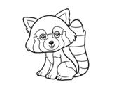 Disegno di Panda rosso da colorare