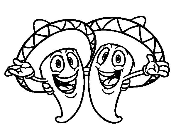Disegno di Peperoni messicani da Colorare