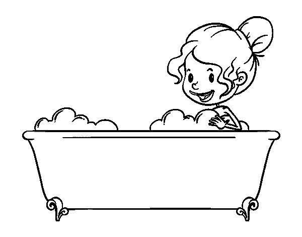Disegno di per fare il bagno da colorare - Fare il bagno in inglese ...
