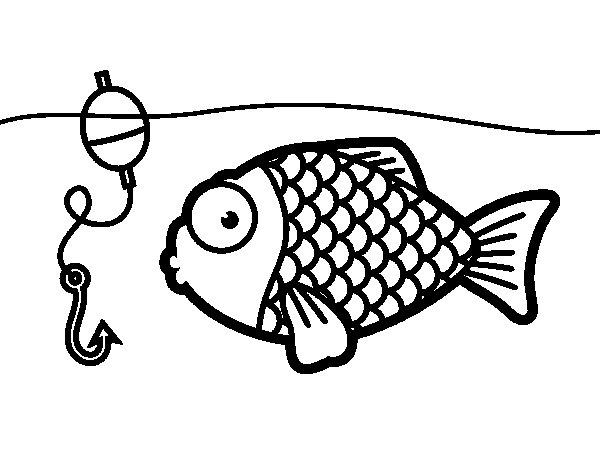 Disegno di Pesce per prendere l'amo da Colorare