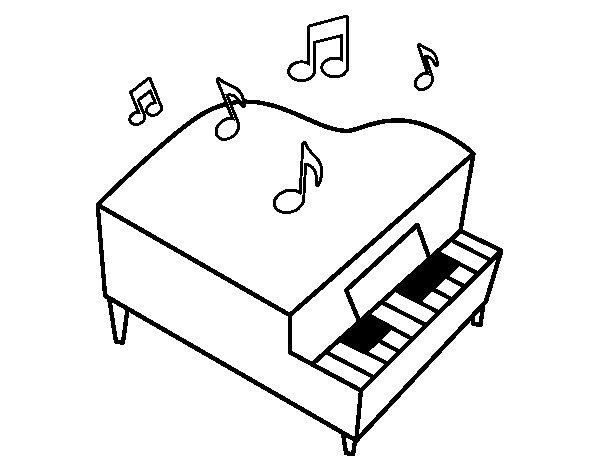 Disegno di pianoforte a coda da colorare for Disegno di piano piano di 2 camere da letto