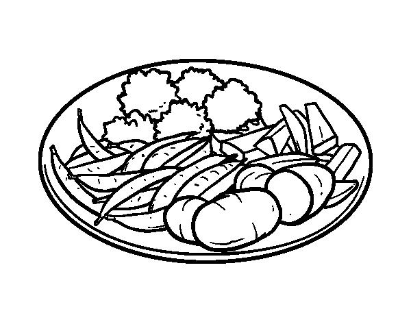 Disegno di piatto di verdure da colorare - Colorare le pagine di verdure ...
