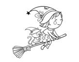 Disegno di Piccola strega in volo con la scopa da colorare