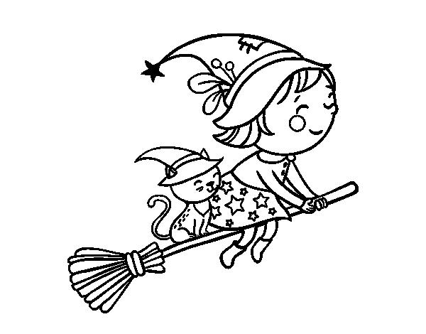 Disegno di piccola strega in volo con la scopa da colorare for Disfare la valigia in inglese