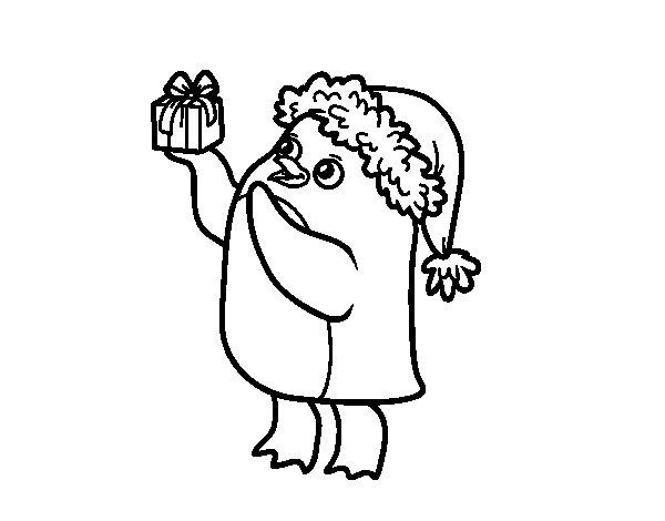 Disegno di pinguino con il berretto e regalo di natale da for Pinguino da colorare