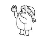 Disegno di Pinguino con il berretto e regalo di Natale da colorare