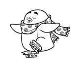 Dibujo de Pinguino pattinaggio su ghiaccio