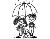 Disegno di Pioggia autunnale da colorare